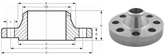 Welding Neck Flanges Dimensions & Tolerances